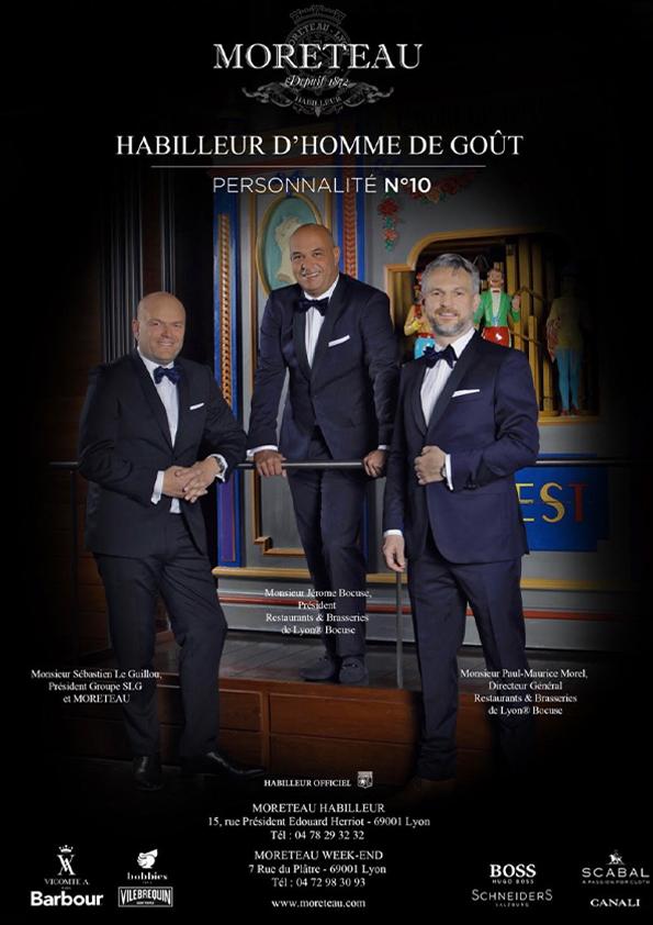 Jerome Bocuse et Paul-Maurice Morel directeurs des restaurants et brasseries Bocuse habillés par SLG